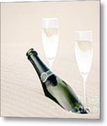 A Bottle Of Champagne With Two Glasses Metal Print