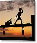 A Boy And His Boat. Metal Print