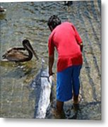 A Boy And The Marlin Metal Print