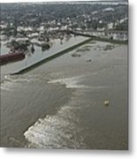 A Breech In A New Orleans Levee Floods Metal Print by Everett