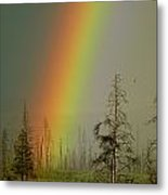 A Brilliantly Colored Rainbow Ends Metal Print