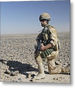 A British Army Soldier On A Foot Patrol Metal Print
