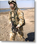 A British Army Soldier On Patrol Metal Print