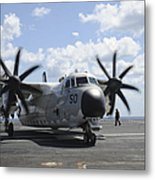 A C-2a Greyhound Taxis On The Flight Metal Print