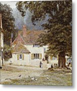 A Cart By A Village Inn Metal Print