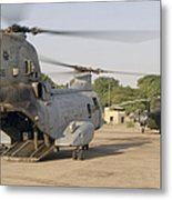 A Ch-46 Sea Knight And Mi-8 Helicopter Metal Print