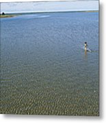 A Child Running Through The Water Metal Print