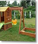 A Childs Playing Equipment In A Green Location Metal Print