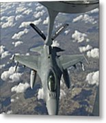 A Chilean Air Force F-16 Refuels Metal Print