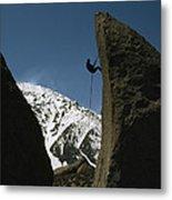 A Climber Rappels Off Grandma Boulder Metal Print