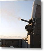 A Close-in Weapons System Fires A Burst Metal Print