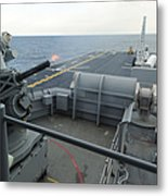 A Close-in Weapons System Fires Aboard Metal Print