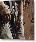 A Close View Of Rock Climber Becky Metal Print