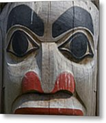A Close View Of The Carvings Of A Totem Metal Print