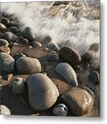A Close View Time Exposure Of Surf Metal Print