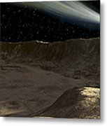 A Comet Passes Over The Surface Metal Print by Ron Miller