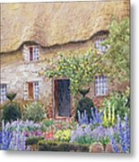 A Cottage Garden In Full Bloom Metal Print