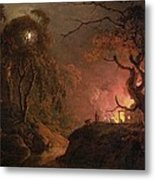 A Cottage On Fire At Night Metal Print