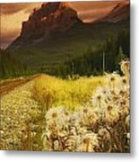 A Country Road With A Mountain In The Metal Print