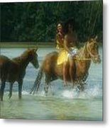 A Couple Rides A Horse In A Shallow Metal Print