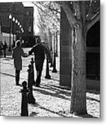 A Couple Walking Together Holding Hands Downtown Asheville Metal Print