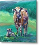 A Cow And Her Calf Metal Print