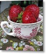 A Cup Of Strawberries Metal Print