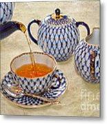 A Cup Of Tea Tea Being Poured Into A China Cup Metal Print