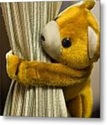 A Curtain With A Cute Stuffed Toy Metal Print