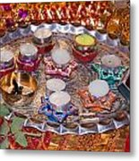 A Decorated Hindu Prayer Thaali With Wax Candles Oil Lamps Metal Print