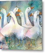 A Disorderly Group Of Geese Metal Print