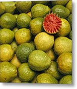 A Display Of Guavas In An Open Air Metal Print