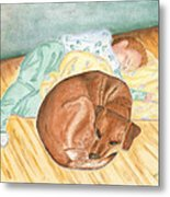 A Dog And Her Boy Metal Print
