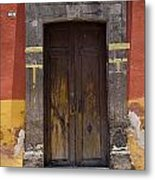 A Door In A Painted Building Metal Print