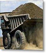 A Dump Truck Carrying Gravel Kicks Metal Print