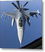 A Dutch F-16am Conducts In-flight Metal Print
