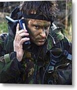 A Dutch Patrol Commander Communicates Metal Print
