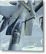 A F-15 Eagle Receives Fuel Metal Print by Stocktrek Images