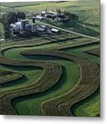A Farm With Curved And Twisting Fields Metal Print