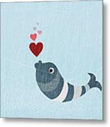 A Fish Blowing Love Heart Bubbles Metal Print