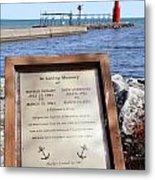 A Fisherman's Prayer At Algoma Lighthouse Metal Print by Mark J Seefeldt