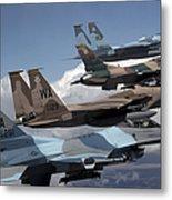 A Flight Of Aggressor F-15 And F-16 Metal Print