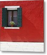 A Flower Pot Sits In A Window With Metal Print