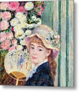 A French Girl With A Fan Metal Print