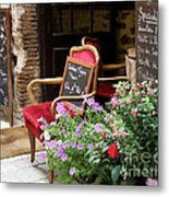 A French Restaurant Greeting Metal Print