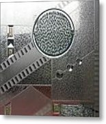 A Frosted Glass Window With An Interesting Pattern Metal Print