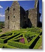 A Garden In Front Of Tully Castle Near Metal Print