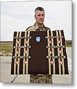 A German Soldier Holds A Display Metal Print