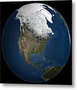 A Global View Over North America Metal Print