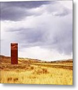 A Grain Elevator In A Field Metal Print
